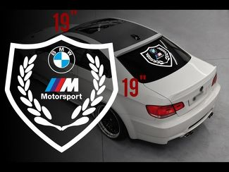 BMW Motorsport M logo rear window vinyl stickers decals for M3 M5 M6 e36 all