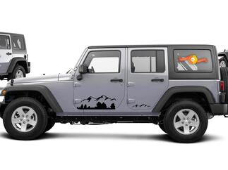 2 Jeep Mountain Rubicon JK Door Any Colors Sticker Decal