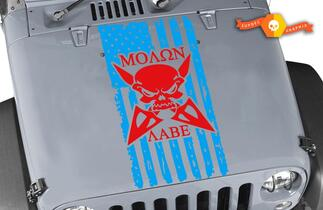 MOLON LABE Flag Distressed Wrangler Edition Vinyl Hood Decal TJ LJ JK Skull #2