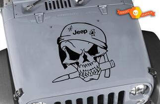 Jeep Wrangler Military Soldier Skull Vinyl Hood Decal TJ LJ JK 20