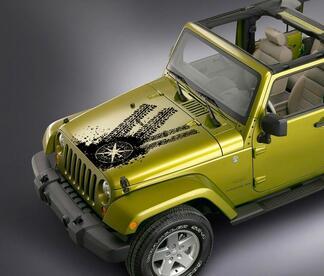 Jeep Wrangler Kompass Reifen verfolgt Motorhaube Aufkleber Aufkleber