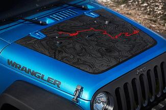 Jeep Wrangler Blackout BLACK BEAR edition PASS map adventure trip Vinyl Hood Decal TJ LJ JK Unlimited