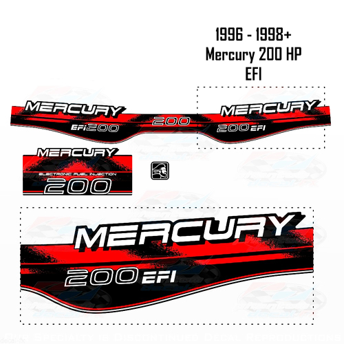 1996-1998+ Mercury 200HP EFI Decal Set Outboard Reproduction 3 Piece Vinyl 1997