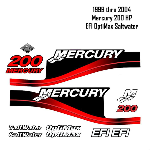 1999-2004 Mercury 200HP Red Decals EFI OptiMax Saltwater 15pc Repro Outboard Vinyl Sticker Decals Kit