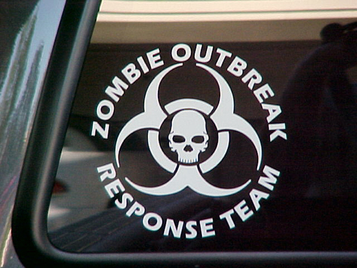 2 ZOMBIE OUTBREAK Response Team Vinyl Sticker Decal