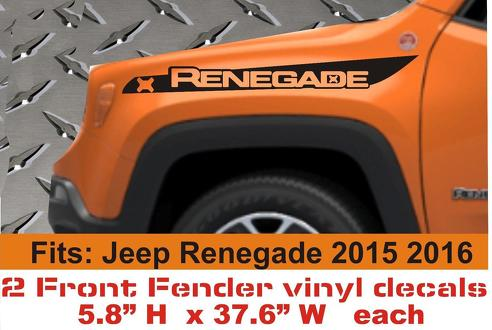 2 JEEP RENEGADE 2015 2016 FRONT FENDER STRIPES VINYL DECALS