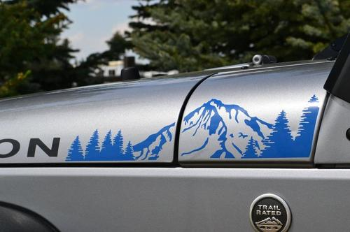 2 Jeep Mountain Forest Rubicon JK hood Sticker Decal