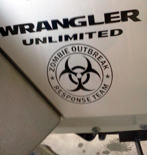 2 Wrangler Unlimited ZOMBIE OUTBREAK Response Team Vinyl Sticker