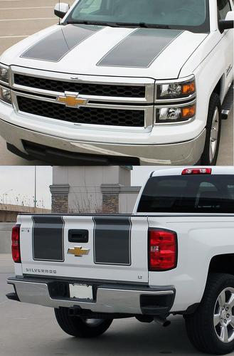 Chevy Silverado RALLY 1500 Vinyl Hood Tail Stripe Decals Graphic 2014-2015