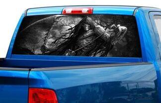 Sensenmann Schädel Farbe oder S / W Heckscheibe Grafik Aufkleber Aufkleber Truck SUV