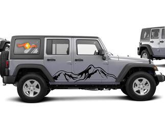 Jeep Aufkleber WRANGLER Seitenhaube Tür Kotflügel Fenster Aufkleber Rubicon Sahara JK 4DR