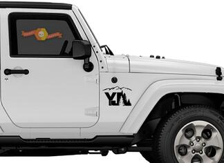 2 of Jeep YJ tree mountain Decal Wrangler Decals Stickers Logo pick color