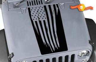 USA flag Jeep Wrangler Decal Blackout Hood Vinyl Matte Black Colors Sticker JK LJ TJ