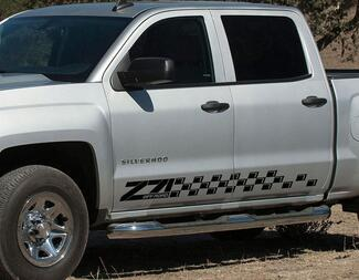 2 Chevrolet Silverado Z71 side stripes graphics decal door panel decal black vinyl