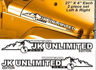 Paar Jeep Wrangler JK UNLIMITED EDITION Vinyl Hood Decals JK JKU 2007-2016