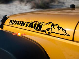 Pair Jeep Wrangler Mountain Edition Vinyl Hood Decals JK JKU 2007-2016