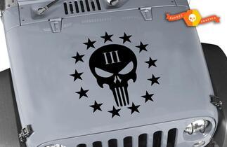 Jeep Wrangler Punisher III Vinyl Haube Aufkleber 20