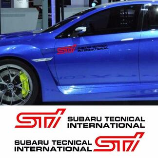 2X STI Subaru Tecnica International Dors Cover Vinyl Decals Stickers