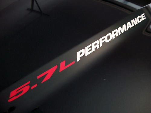 5.7L PERFORMANCE (pair) Hood vinyl sticker decals emblem logo Hemi Vortec