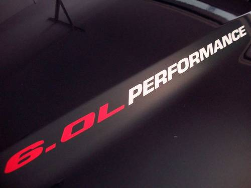 6.0L PERFORMANCE (pair) Hood sticker decals emblem Ford F250 Chevy Silverado GMC