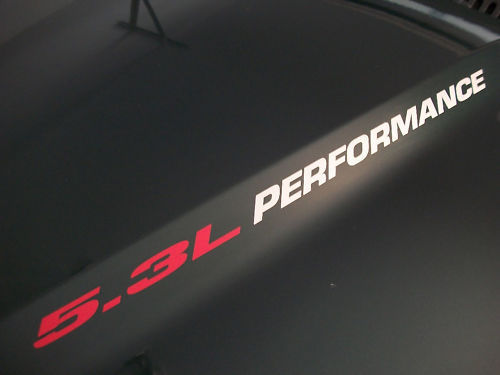5.3L PERFORMANCE Hood decal Chevy Silverado GMC Sierra Avalanche 03 02 01 00 99