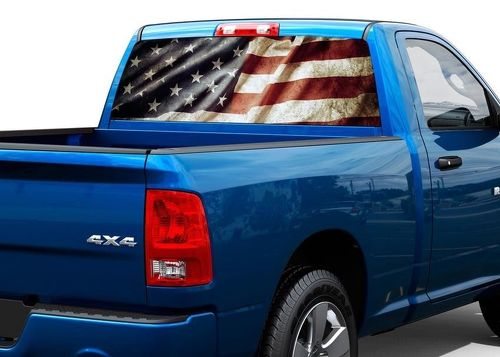 Patriotic American Flag Vintage Rear Window Decal Sticker Pick-up Truck SUV Car
