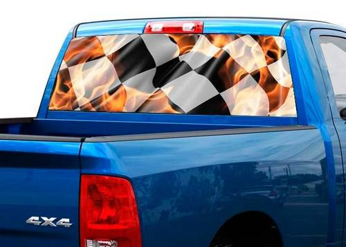 Checkered flag in flame Rear Window Graphic Decal Sticker Truck SUV