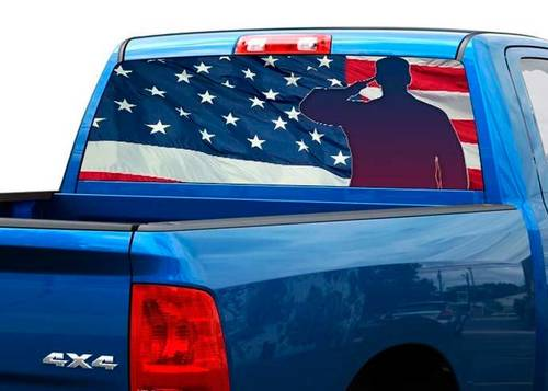 US Army US flag Rear Window Decal Sticker Pick-up Truck SUV 2