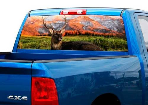 Deer mountains nature Rear Window Decal Sticker Pickup Truck SUV Car