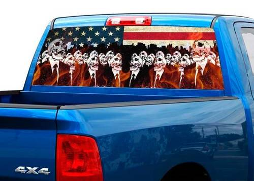 Flame skeletons USA US flag Rear Window Decal Sticker Pick-up Truck SUV Car