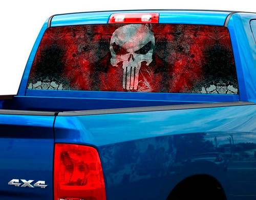 Punisher Blood plate Rear Window Graphic Decal Sticker Truck SUV