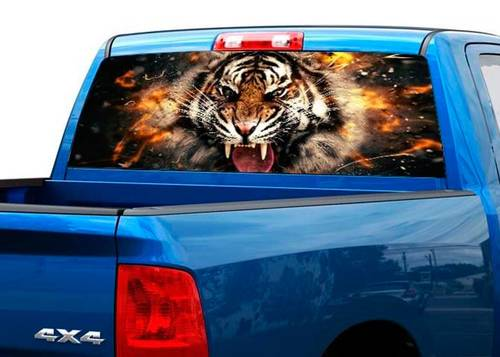 Tiger in flame Rear Window Graphic Decal Sticker Truck SUV Perforated vinyl