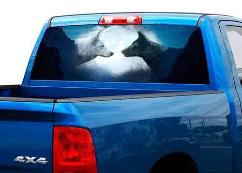 Wolf black and white on the moon Rear Window Decal Sticker Pick-up Truck SUV 2