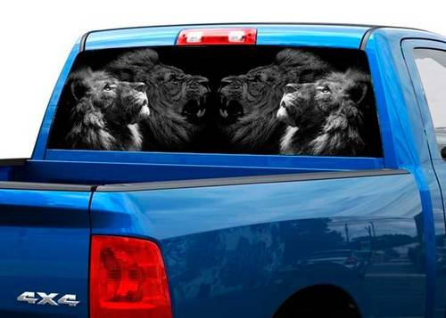 Lion calm and gnarling Rear Window Decal Sticker Pick-up Truck SUV Car
