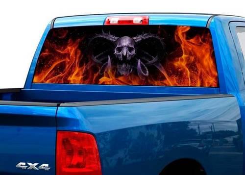 Todesdämon in Flamme Heckscheibe Aufkleber Aufkleber Pickup Truck SUV Auto