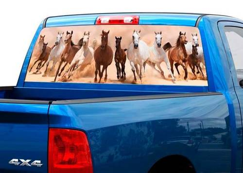 Herd of running Horses Rear Window Decal Sticker Pick-up Truck SUV Car