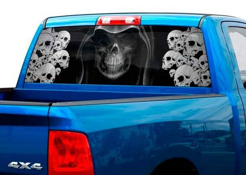 Death BW Skull Skeleton fear Rear Window Decal Sticker Pick-up Truck SUV Car