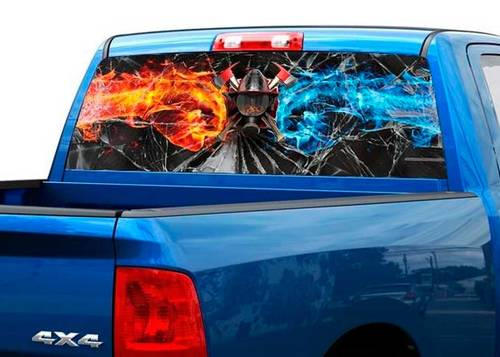 Ffirefighters broken glass flame Rear Window Decal Sticker Pick-up Truck SUV Car