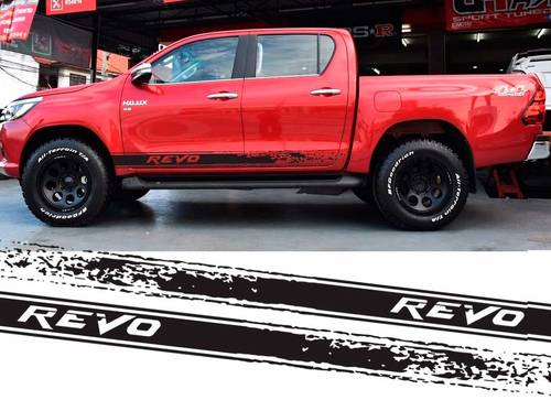 2pc hilux revo racing side stripe graphic Vinyl sticker for TOYOTA HILUX decals