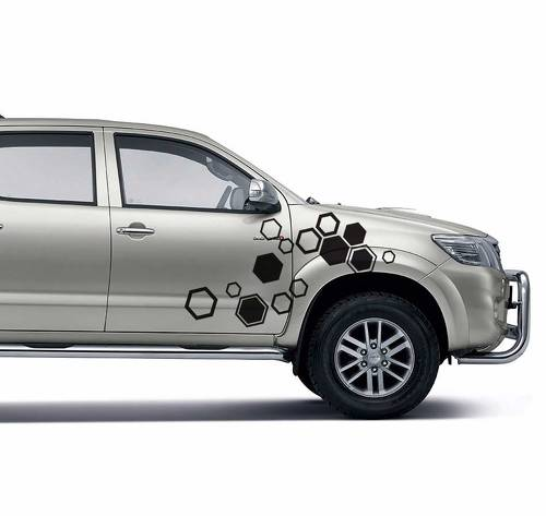 2PC hexagon pattern abstract geometric body rear tail side graphic vinyl for TOYOTA HILUX VIGO 2011 decals