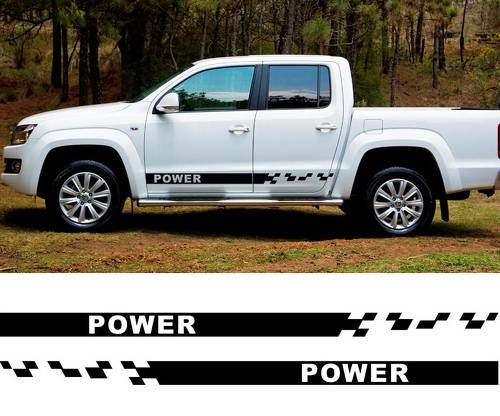 2 PC power 4x4 side stripe graphic Vinyl sticker for VW AMAROK 2010 decal