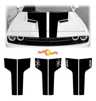 2009-2014 Dodge Challenger Hood Racing Streifen Aufkleber Aufkleber Auto Srt RT Hemi