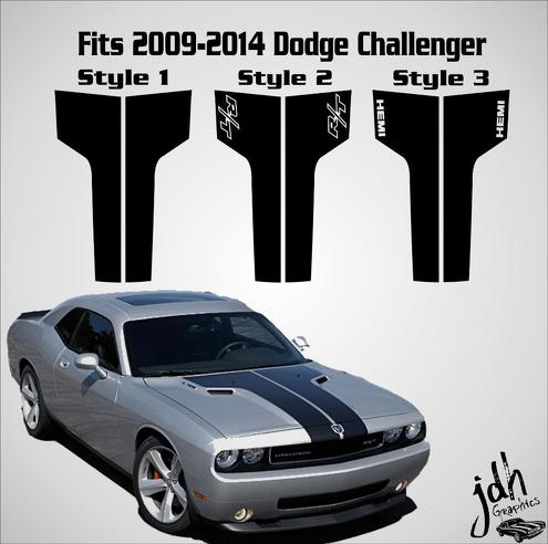 2009-2014 Dodge Challenger Hood Racing Stripe Decal Sticker Car Srt RT Hemi