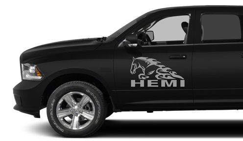 2X DODGE HEMI HORSE IN FLAME DECAL HEMI 3.7 V8 RAM 1500 graphics vinyl stickers