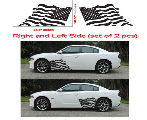 AMERICAN USA FLAG Dodge Charger Hellcat SRT Hemi Decal Vinyl Side Door Graphics