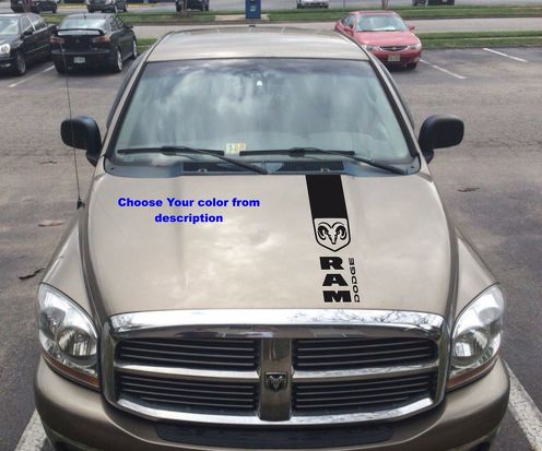 Truck vinyl decal, stripe sticker hood  Dodge Ram  logo (both sides) srt-8 hemi