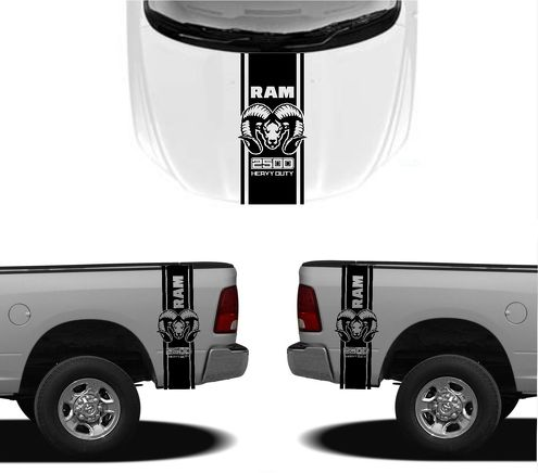 3X DODGE HOOD FENDER DECALS RAM HEMI 2500 1500 graphics vinyl body stickers