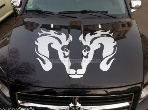 23x30 Tribal Flaming Head graphic decal fits Dodge Ram Dakota Hemi 4x4 Truck