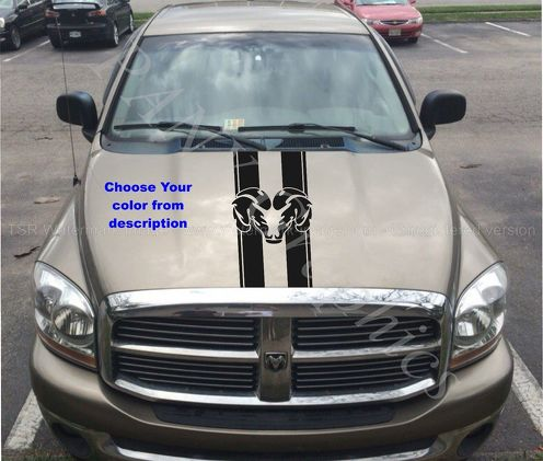 Truck car vinyl decal, racing stripe sticker hood  Dodge Ram  logo (both sides)