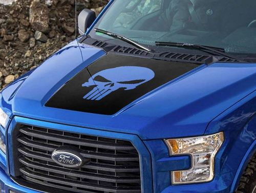 Ford F-150 2015-2016 Punisher skull hood graphics side stripe decal sticker